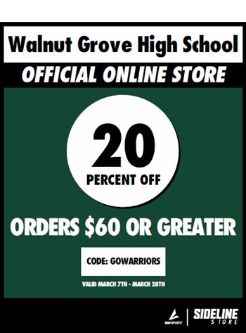 Discount code for merchandise