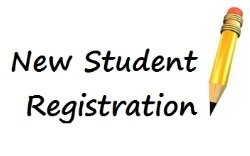new student registration with a pencil