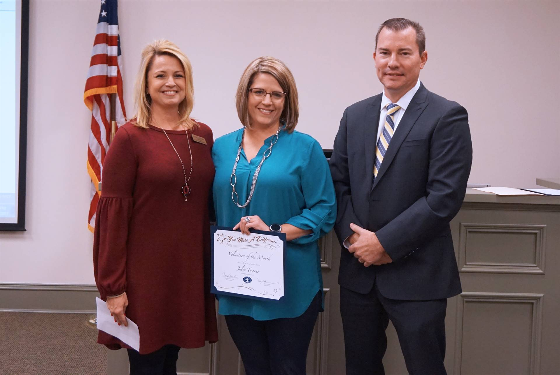 Principal, Volunteer of the Month and Superintendent