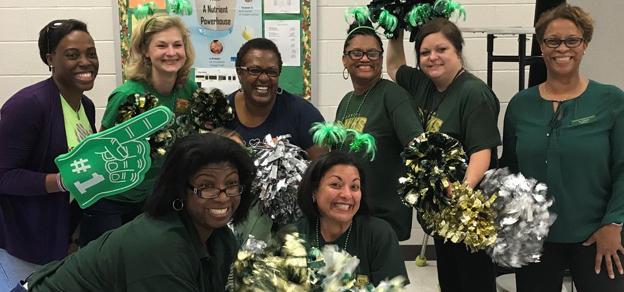 teacher cheerleaders kickoff our Accelerated Reader program