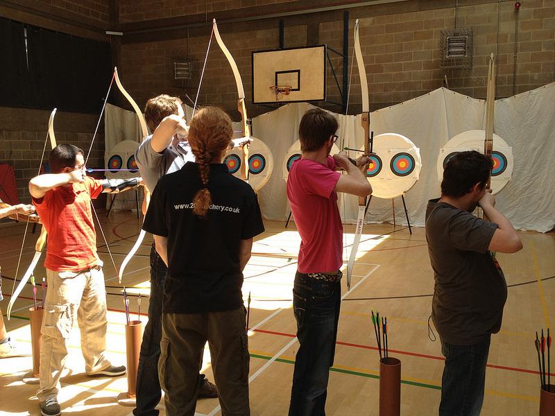 Loganville Elementary School archery students practicing.