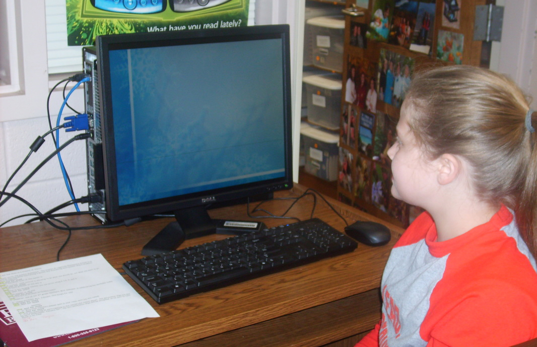 WLES student using computer.