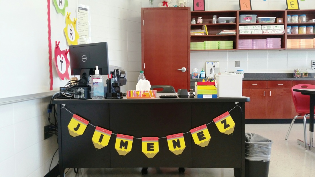 Teachers desk in LES art room.