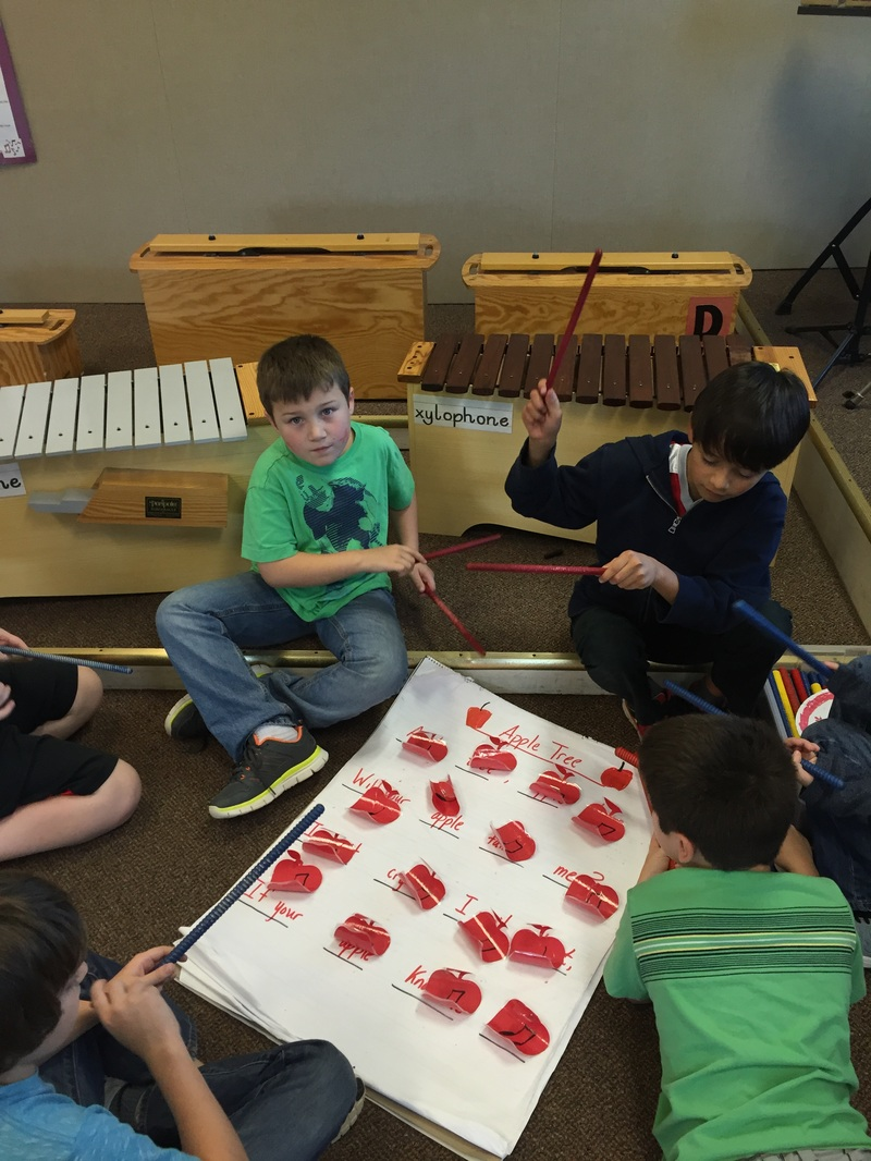 Students playing instruments together in music class.