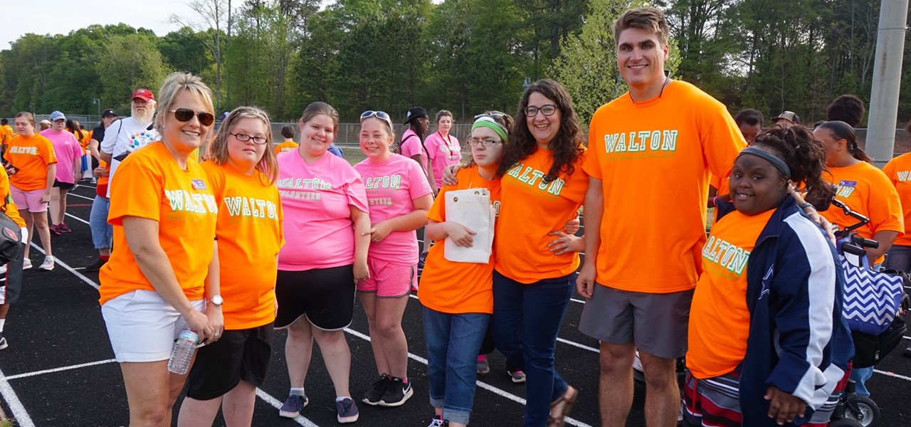 Teachers and students at the Walton County Special Olympics