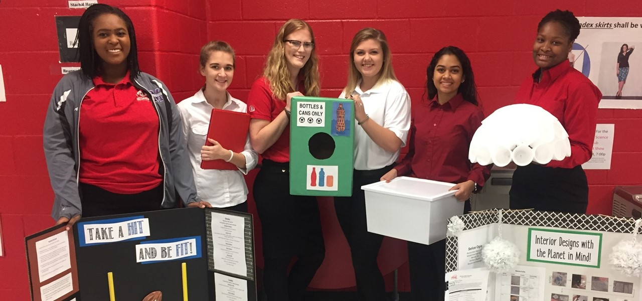 MAHS FCCLA students with their completed projects for competition.