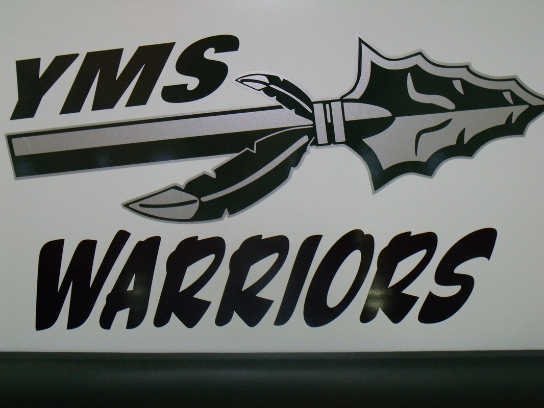 YMS Warriors logo on the wall.