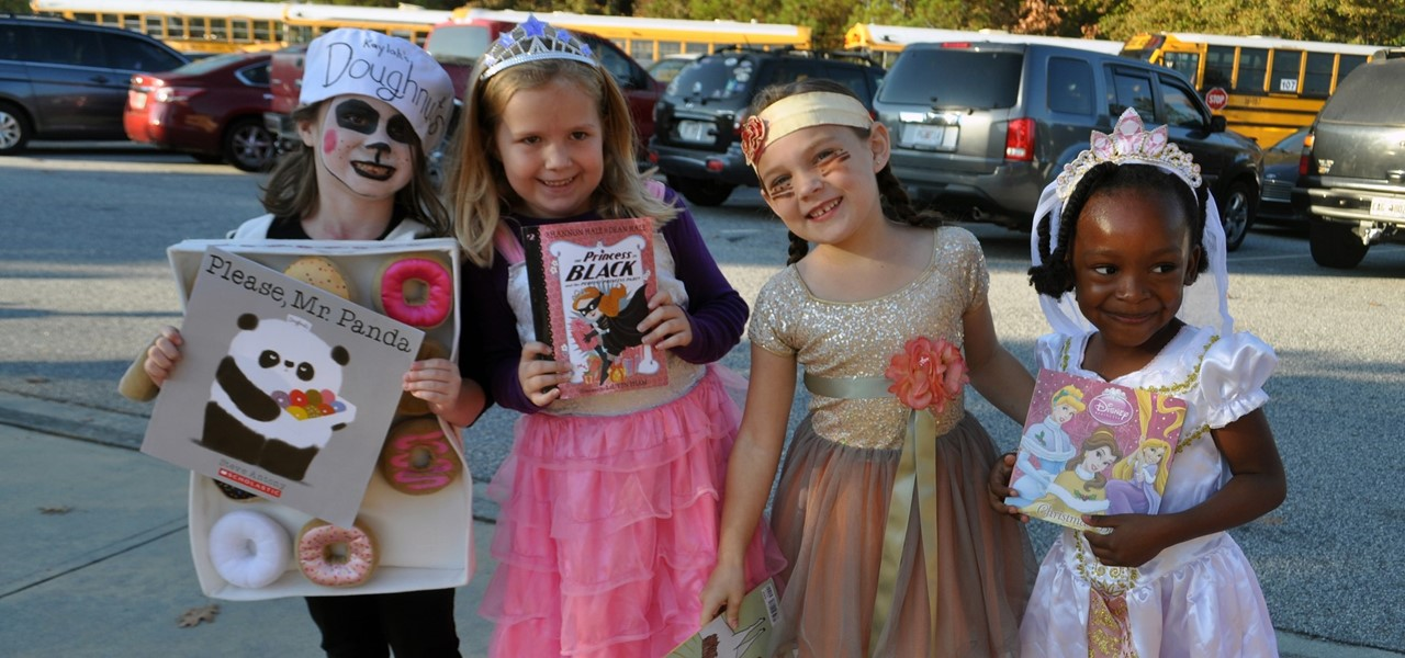 Students dressed up for the storybook parade