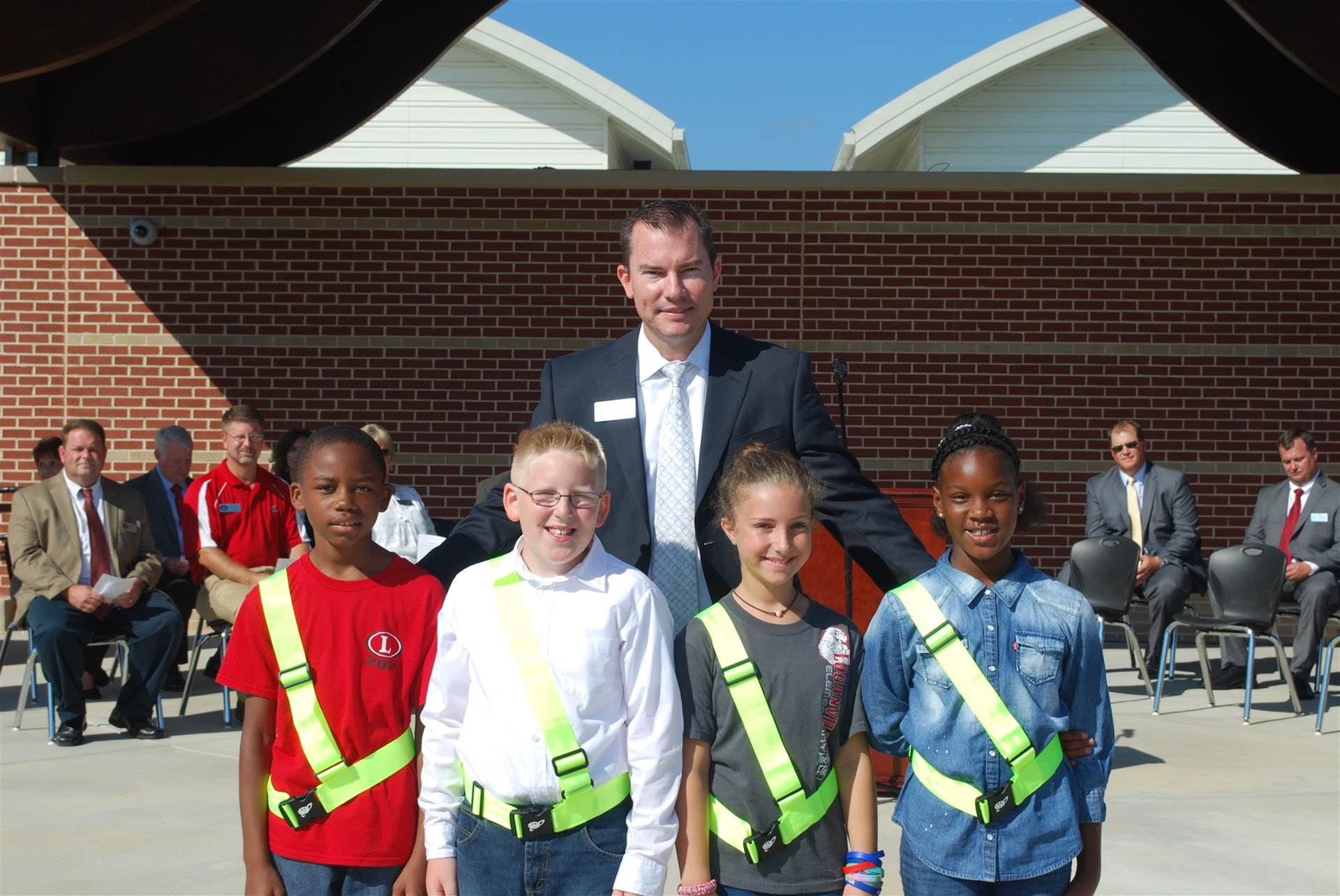 Safety Patrol students with Dr. Franklin at the LES grand opening.