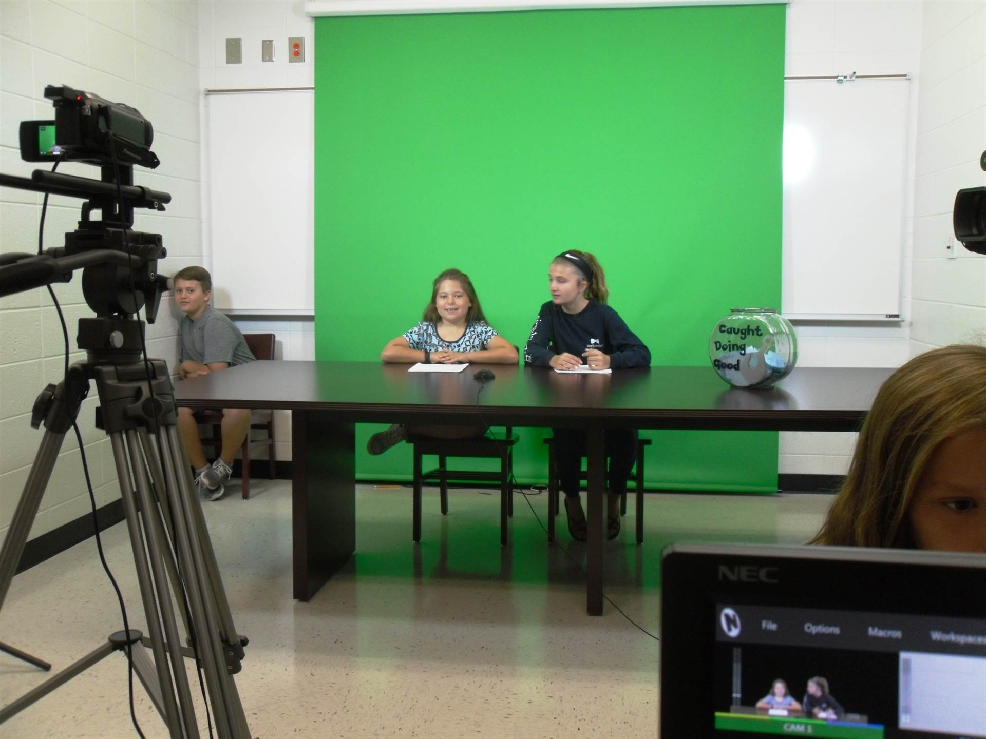 WLES students on camera