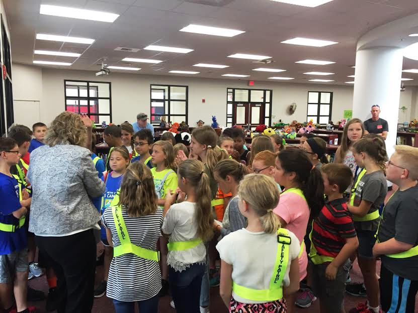Safety Patrol students at a meeting.