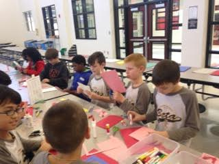 Jr. Beta members making cards