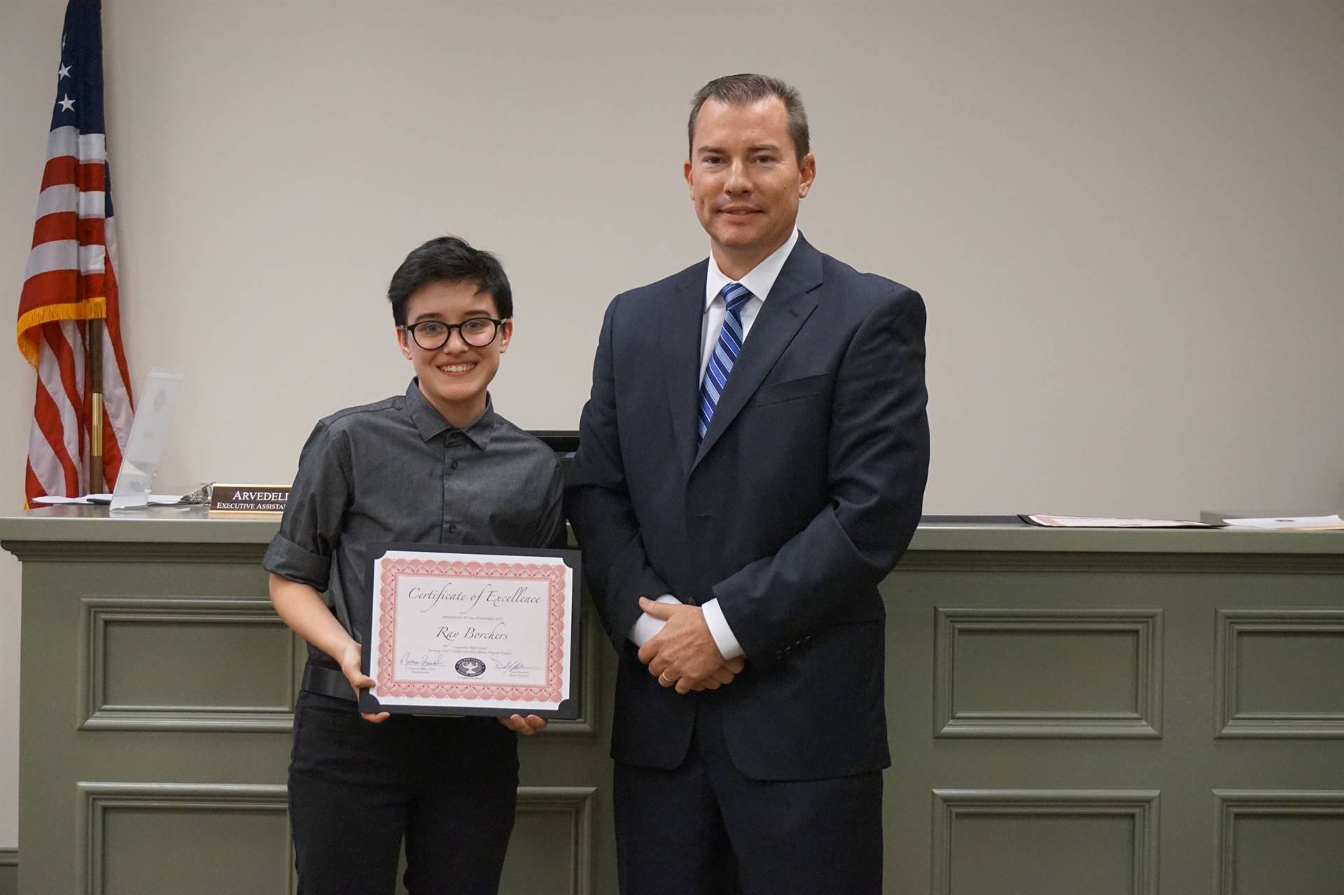 GHP student with superintendent
