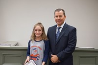 Monroe Elementary School Student and Superintendent Franklin