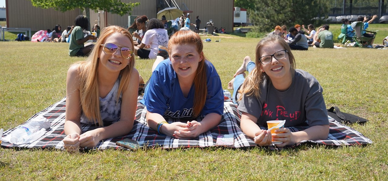 Students at a picnic