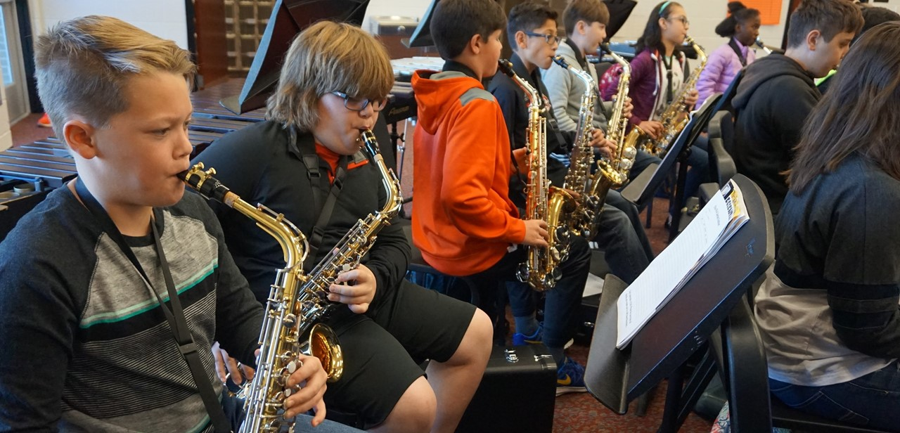 Students in band.