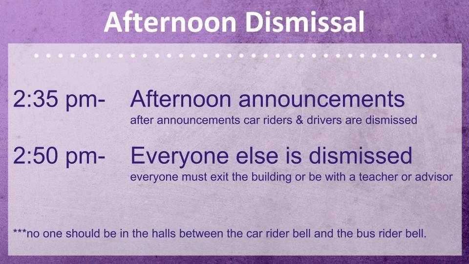 afternoon dismissal
