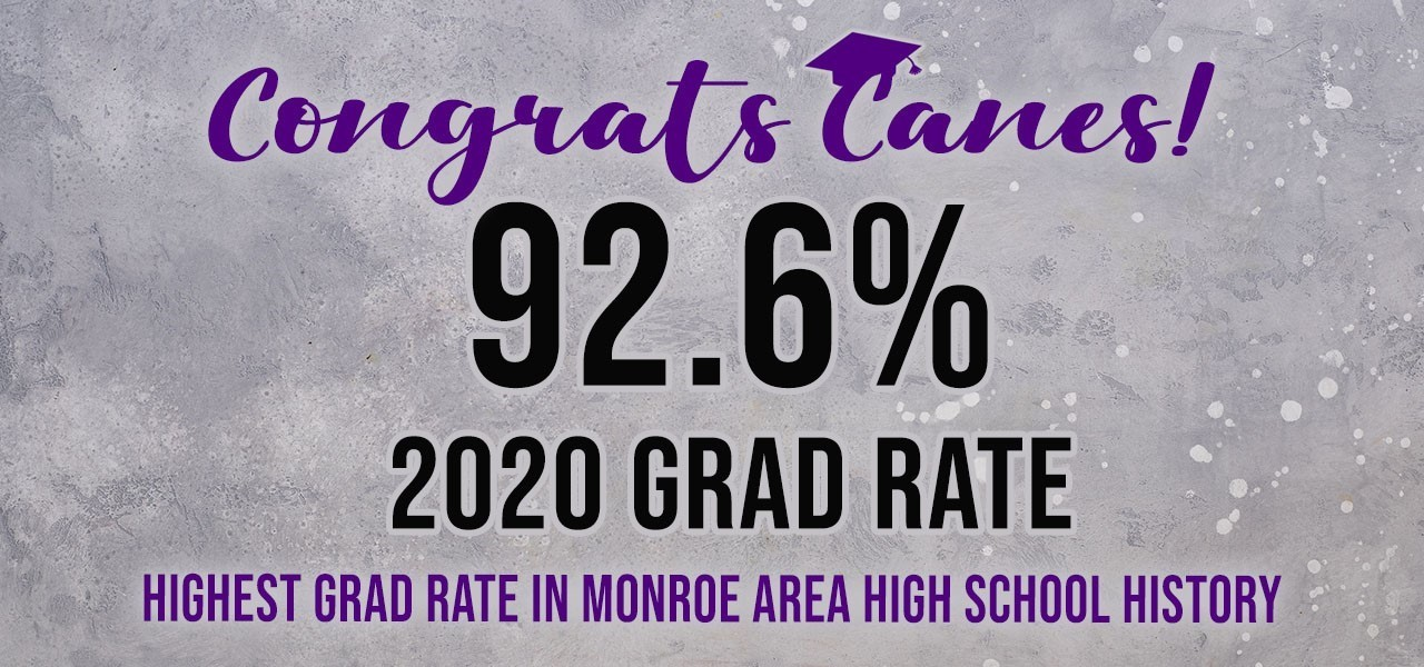 Purple background with black and purple font. Congrats Canes! 92.6% 2020 Grad Rate. Highest grad rate in Monroe Area High School history.