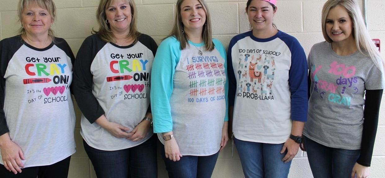 Kindergarten Teachers Showing Their 100th Day Pride