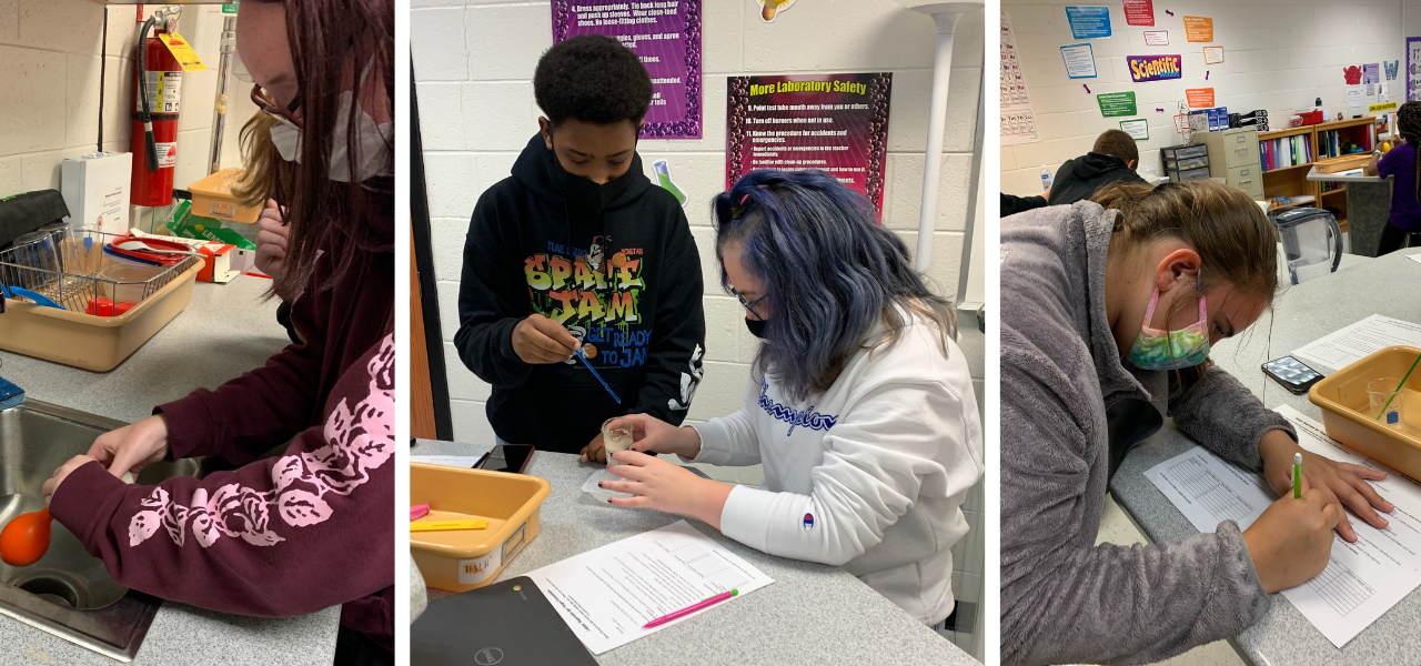 Three pictures separated by white lines. The first picture is a student holding a red balloon over a sink. The second photo is two students working on a lab, one holding an eye dropper and the other holding a beaker. The third photo is a student working on a lab report.