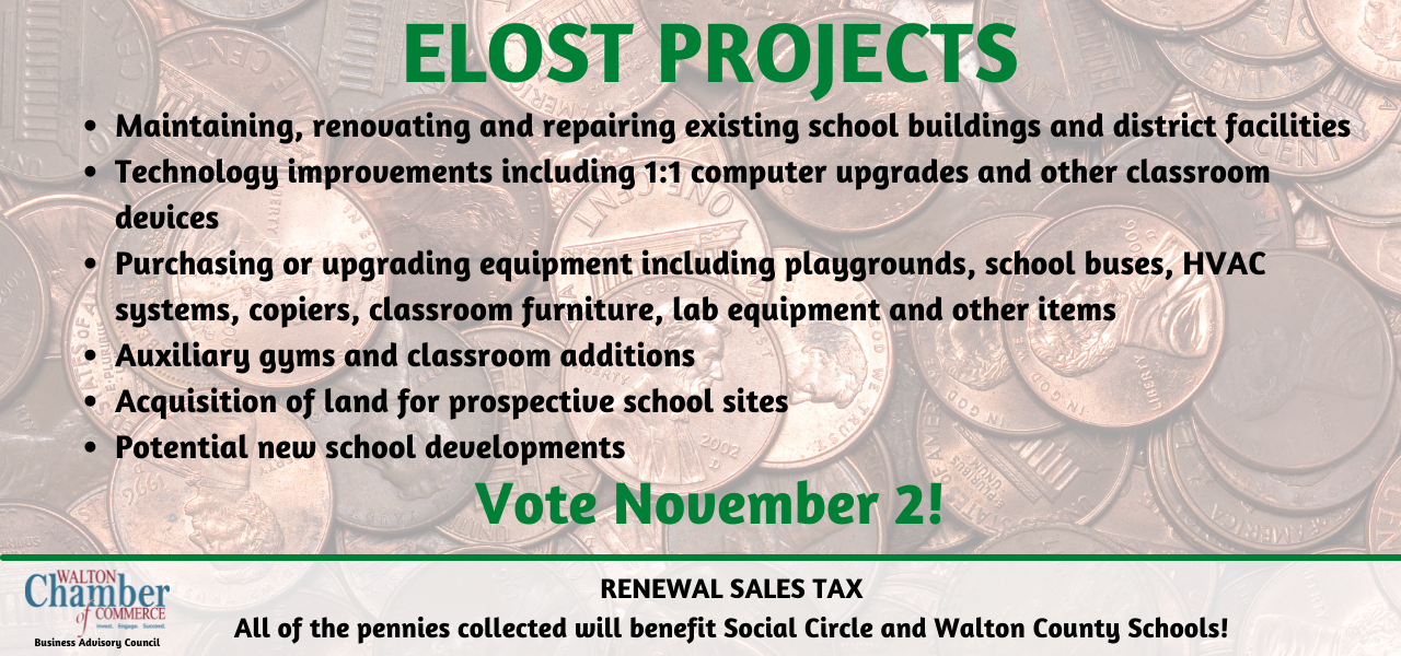 ELOST vote on November 2 - pennies collected benefit Social Circle and Walton County Schools