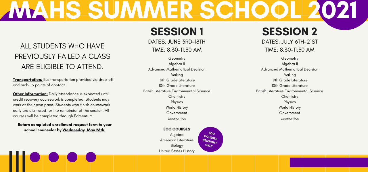 Summer school information. June 3-18 and July 6-21. See the read more link for complete information.