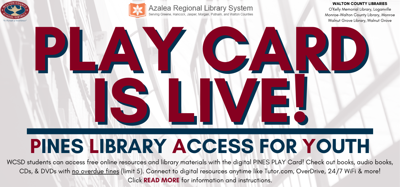 Library Background with text that reads play card is live! Click read more for information and instructions.