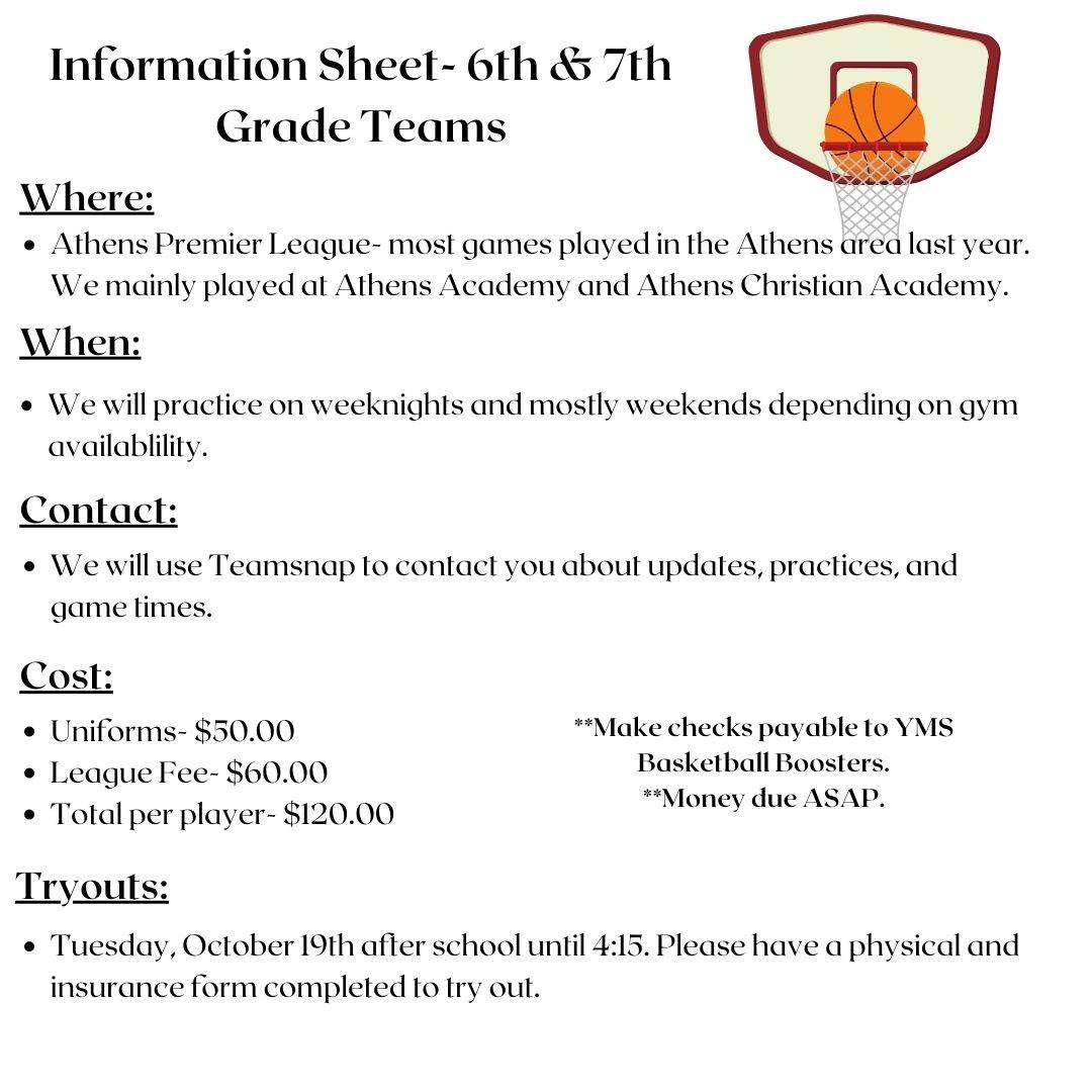 6th and 7th grade Tryout Info